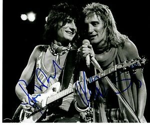 """""""Small Faces"""" Rod Stewart & Ronnie Wood Signed 10X8 B&W Photo Todd Mueller COA"""