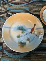 Vintage/Antique JAPAN hand Painted Small Scenic Display Plate~Early~Red Bird