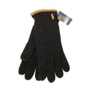 POLO RALPH LAUREN Mens Merino Wool Suede Cuff Gloves One Size Black (MSRP $65)