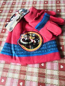BOYS CAPTAIN AMERICA BEANIE HAT & GLOVES SET SIZE 54 CM NEW