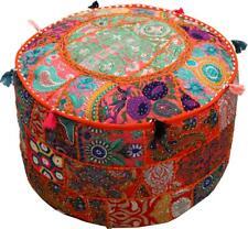 "Orange 22"" Embroidered Round Ottoman Pouf Stool Chair Pouffe Seat Indian Decor"