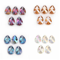 5Pcs 24x17mm Teardrop Faceted Glass Crystal Loose Spacer Beads Jewelry Making