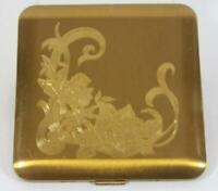 Vintage Wadsworth Etched Gold Tone Powder Compact Never Used Original Price Tag