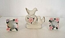 2 Vintage White Porcelain Photo Frames And Dove Vanity Table Figurine