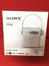 SONY FM / AM Splash Proof Shower Radio ICF-S80 Clock With strap belt F/S Japan