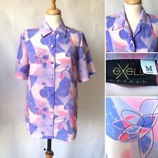 Vintage 1980s 1990s Exell Pink Purple Floral Swirly Pattern Blouse Size 10 12