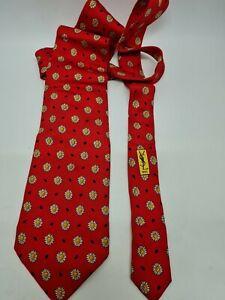 Yves Saint Laurent Designer Red Tie with Sunflowers. 100% Silk.