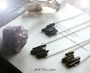Black Quartz Multi Crystal Necklace   Aura Cleanse Protection Healing Jewellery