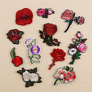 11x Embroidery Rose Flower Sew Iron on Patch on Badge Bag Jeans Applique Cra_cd