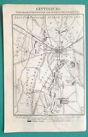 "GETTYSBURG & Environs & Plan of Battle - 1909 MAP 4 x 6"" (10 x 15,5 cm)"