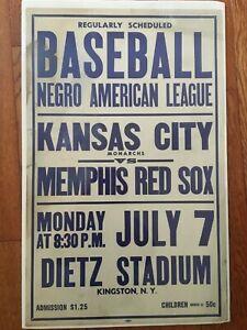 Original 1940s Negro league colored Baseball Broadside poster 22x14 KC MONARCHS