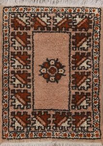 2x2 Vintage Moroccan Oriental Wool Area Rug Square Hand-knotted Geometric Carpet