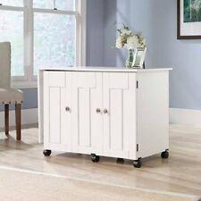 Craft Table Sewing Machine Storage Cabinet Shelves Drop Leaf Folding Desk White