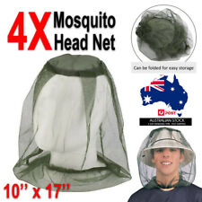 4X Mosquito Fly Head Net Mesh Hat Bee Bug Face Protect Fishing Farm Camping AU