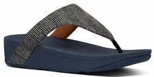 Fitflop Lottie Glitter Stripe Midnight Navy Womens Toe Post Sandals