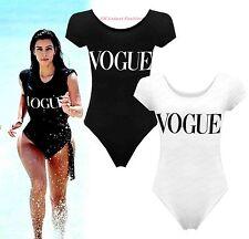 Ladies Style Celebrity Style Cap Sleeve Vogue Print Bodysuit Leotard Top 8-14.