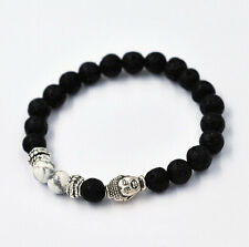 Hot 7mm Beads Men's Bracelet Fashion Lava Rock Gold Buddha Head Howlite Stone ID