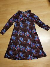VINTAGE 70s 60s Polyester Dress Flowered Maroon Women's