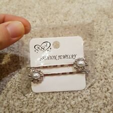 Silver Rhinestone Jewel Hair Clips. New In Packet