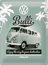 VW Rétro Bulli Ancienne Camping-car Volkswagen Van Garage Large 3D Métal estampé
