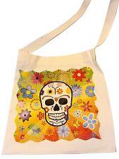 "#187 Skeleton Canvas Silk Screened Sugar Skull Tote 14"" x 16"" Day of Dead Bag"