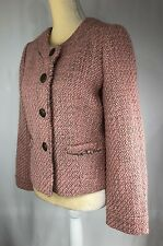 J. Crew Women Jacket Blazer 10 Wool Tweed Buttons Career Pink