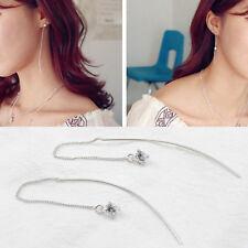 Damen Ohrhänger Durchzieher Stäbchen Zirkonia echt Sterling Silber 925 Ohrringe