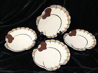 """Set of 4 Pottery Barn Turkey Gobble Appetizer/Dessert Plates Thanksgiving 7 1/2"""""""