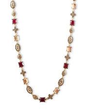 Lucky BRAND Red Jade Semi Precious Accent NecklaceTopaz Crystal JLRY2509