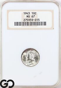 1943 MS67 Mercury Dime NGC Mint State 67 ** Coin Should Be FSB, Old Fatty Holder