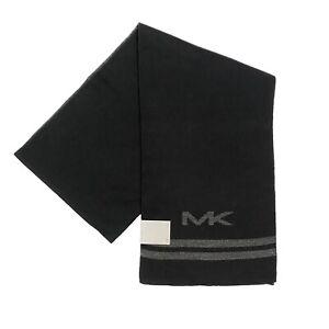 MICHAEL KORS Mens Big MK Logo Striped Scarf Black (MSRP $55)