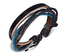 Unisex Leather Rope Bracelets Wrap Adjustable Bangle Fashion Blue Wristband