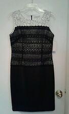 Katherine Kelly Black / White Lace Sheath Dress Size 6 - NWT