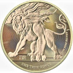 2018 Niue $2 Roaring Lion Ennobled Gold Gilded 1oz .999 Silver Coin - Box & COA