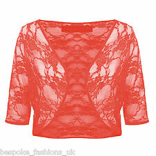 Womens SEE THROUGH Lace 3/4 Sleeve Ladies Cardigan Bolero Shrug Plus Size 8-22