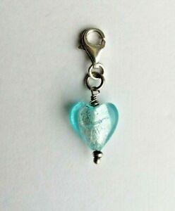 Anhänger Charm Herz blau Glas Silber 925 (1348)