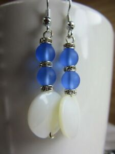 Handmade  Earrings MOP Mother of Pearl Disc  with Blue Sea Glass