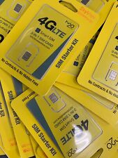 Lot of 10 H2O Wireless 3-in-1 Sim card Regular, Micro, Nano. At&T & Unlocked H20