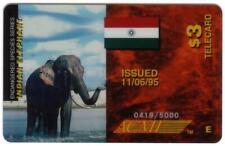 $3. Indian Elephant Endangered Species & India Flag Phone Card