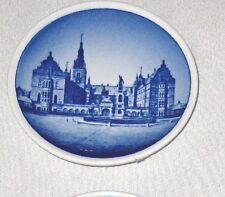 """White Blue 3 1/4"""" Royal Copenhagen Denmark Coaster Plate Frede Riksborg Slot"""