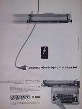 PUBLICITÉ JAPY S186 MACHINE A ÉCRIRE RETOUR ÉLECTRIQUE DU CHARIOT - MICHAELIDES