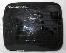 Guess Retro Large Laptop Case Bag Sleeve Patent Black Croco Heart Logo Padded