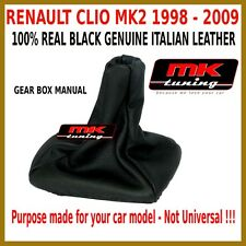 RENAULT CLIO MK2 1998-09 GEAR SHIFT GAITER GAITOR COVER LEATHER BLACK STITCH