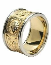 Gents 14k Gold Irish Handcrafted Celtic Warrior Wedding Ring 12mm Wide Band