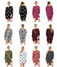 BZ Ladies Star Print Loose Fit Jumper Women Batwing Baggy Hi Lo Long Knitted Top