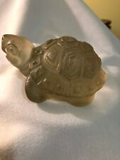 Clear Glass Turtle Figurine Paper Weight. 8 Oz. 4� Long