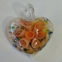 "Art Glass Pendant White Glass Heart Dichroic Peach Color Flower 1.5"" Glass Bale"