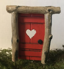 FAIRY GARDEN ~ Mini Rustic Helena Door Pick RED w/ Heart