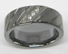 TRITON MENS 8MM 1/10 CTTW DIAMOND COMFORT FIT TUNGSTEN RING / BAND $485 AT ZALES