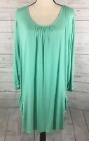 LOGO Lori Goldstein Tunic Top Size 2X Scooped Neck Front Pockets Stretch